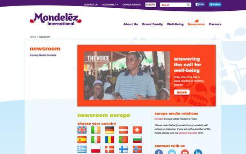 Screenshot of Press Page mondelezinternational.com - Newsroom   Europe   Mondelēz International, Inc. - captured May 30, 2016