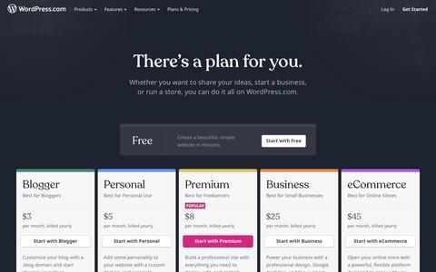 Screenshot of Pricing Page wordpress.com - WordPress.com Plans and Pricing – Get Started for Free Today! - captured April 17, 2019
