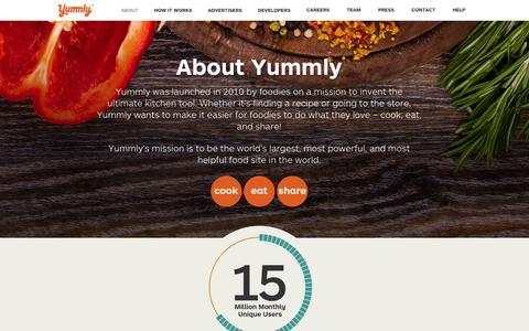 Screenshot of About Page yummly.com - About | Yummly - captured Oct. 28, 2014