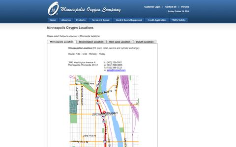 Screenshot of Contact Page Locations Page mplso2.com - Minneapolis Oxygen Company - captured Oct. 26, 2014