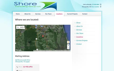Screenshot of Locations Page shoreconsultinggroup.com - Shore Consulting Group LLC Chesapeake, VA - captured Feb. 17, 2016