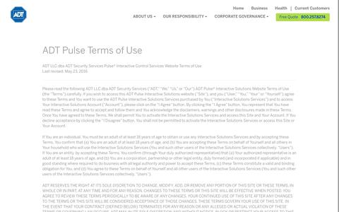 ADT Pulse Terms of Use - ADT Security Services