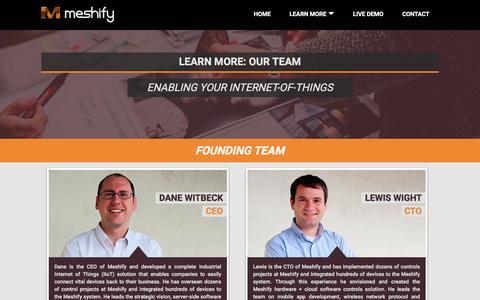 Screenshot of Team Page meshify.com - Meshify |   Team - captured Dec. 4, 2015