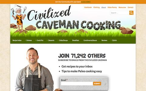 Screenshot of About Page civilizedcavemancooking.com - George Bryant Paleo journey | Civilized Caveman Cooking Creations - captured Sept. 22, 2014