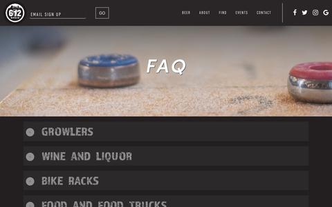Screenshot of FAQ Page 612brew.com - Frequently Asked Questions | 612BREW - captured Sept. 21, 2018