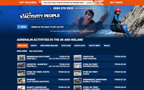 Screenshot of Locations Page theactivitypeople.co.uk - Adrenalin Activities  in the UK and Ireland | The Activity People United Kingdom - captured June 13, 2017