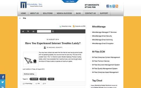 Screenshot of Blog mikrodots.com - Recent blog posts | Mikrodots, Inc. - captured Oct. 7, 2014
