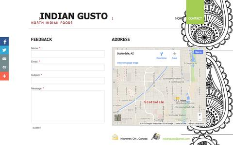 Screenshot of Privacy Page Contact Page indiangusto.ca - Contact - captured Oct. 23, 2014