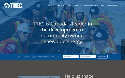 Screenshot of Home Page trec.on.ca - TREC   Renewable Energy & Social Finance   - captured Dec. 14, 2016