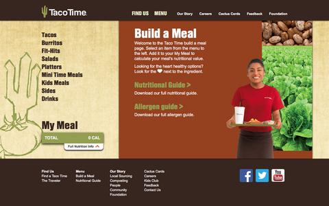 Screenshot of Menu Page tacotimenw.com - Build a Meal at Taco Time Northwest - captured Feb. 16, 2016