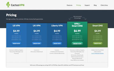 Screenshot of Pricing Page cactusvpn.com - Pricing   CactusVPN - captured Sept. 23, 2014