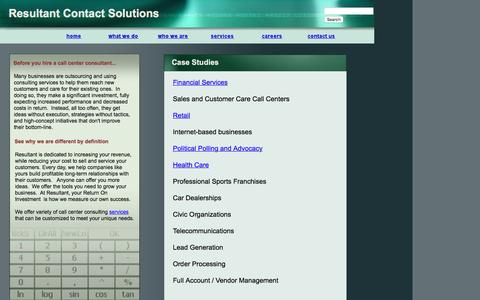 Screenshot of Case Studies Page resultant.biz - Resultant Contact Solutions, LLC - Case Studies - captured Feb. 16, 2016