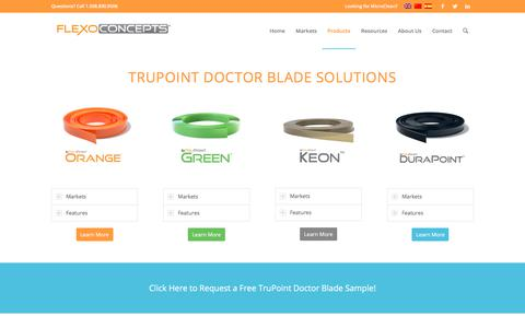 Screenshot of Products Page flexoconcepts.com - Products & Solutions | TruPoint Doctor Blades | Flexo Concepts - captured Aug. 15, 2018