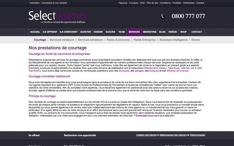 Screenshot of Services Page selectissimo.ch - Nos prestations de courtage - captured Sept. 26, 2014