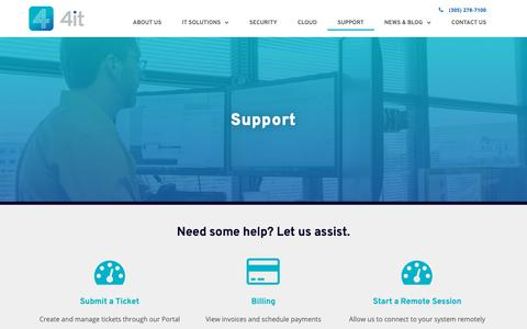 Screenshot of Support Page 4it-inc.com - Contact 4it - Miami and Fort Lauderdale IT Support - captured Oct. 20, 2018