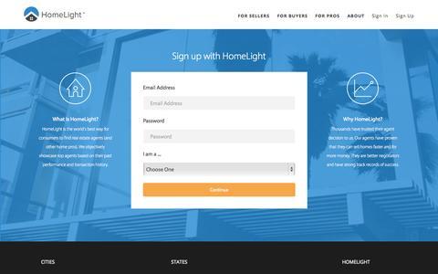 Screenshot of Signup Page homelight.com - HomeLight - Find the Best Real Estate Agent - captured Nov. 11, 2015