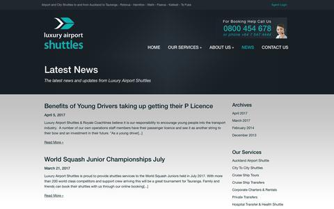 Screenshot of Press Page luxuryairportshuttles.co.nz - News | Luxury Airport Shuttles - captured July 5, 2017