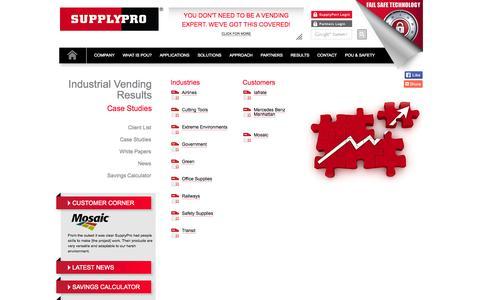 Screenshot of Case Studies Page supplypro.com - Case Studies - Industrial Vending Results - SupplyPro - captured Oct. 7, 2014