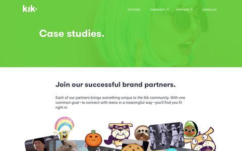 Screenshot of Case Studies Page kik.com - Case Studies - captured May 5, 2017