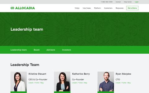 Screenshot of Team Page allocadia.com - Allocadia Leadership Team - captured Dec. 7, 2019