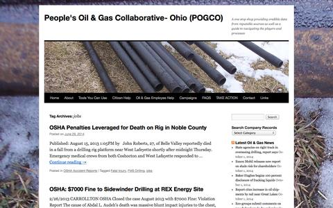 Screenshot of Jobs Page ohiogasdrilling.com - jobs   People's Oil & Gas Collaborative- Ohio (POGCO) - captured Oct. 2, 2014