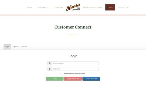 Screenshot of Login Page henries.com - Customer Connect – Henries Dry Cleaners - captured Sept. 28, 2018