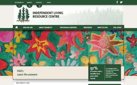 Screenshot of FAQ Page ilrcnl.ca - FAQs | About Disability | Independent Living Resource Centre | Newfoundland & Labrador, Canada - captured Oct. 27, 2014