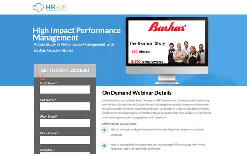 Screenshot of Landing Page hrsoft.com - High Impact Performance Management - captured Sept. 6, 2016