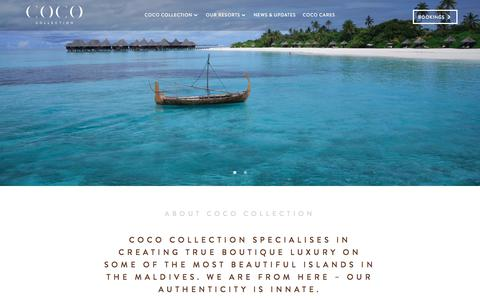 Screenshot of About Page cococollection.com - Maldives Luxury Resorts: About Coco Collection  |  Coco Collection - captured Oct. 27, 2017