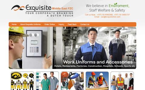 Screenshot of Home Page exquisiteuniforms.com - Exquisite Uniform - captured Sept. 30, 2014