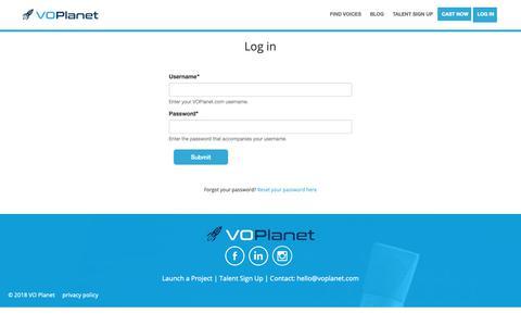 Screenshot of Login Page voplanet.com - Log in | VOPlanet.com - captured Oct. 18, 2018