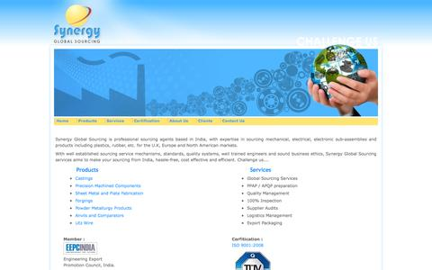 Screenshot of Home Page synergyglobal.in - Global Sourcing Services » Synergy Global India Sourcing Agents - captured Oct. 6, 2014