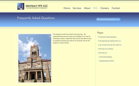 Screenshot of FAQ Page abstractwv.com - Frequently Asked Questions   Abstract WV, LLC - captured Oct. 4, 2014