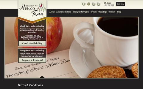 Screenshot of Terms Page innathoneyrun.com - Terms & Conditions   Inn At Honey Run - captured Dec. 6, 2016