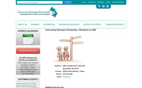 Screenshot of Maps & Directions Page cbponline.org - Northern Virginia | Community Business Partnership | CBP | Directions - captured Sept. 29, 2018