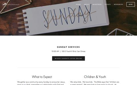 Screenshot of Services Page foothillvineyard.org - Sunday Services — Foothill Vineyard Church - captured Oct. 14, 2017