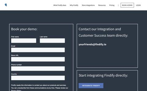 Screenshot of Contact Page findify.io - BOOK A DEMO - Findify - captured Feb. 8, 2019