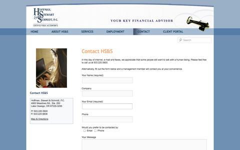 Screenshot of Contact Page hss-cpas.com - Contact | Hoffman, Stewart & Schmidt Certified Public Accountants - captured Oct. 2, 2014