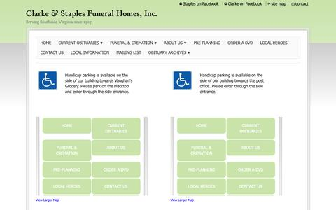Screenshot of Maps & Directions Page clarkefh.com - Clarke & Staples Funeral Homes - Directions to us - captured Sept. 28, 2018
