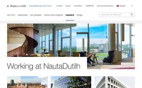 Screenshot of Jobs Page nautadutilh.com - Working at NautaDutilh  | NautaDutilh - captured July 14, 2018