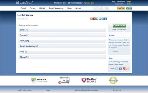 Screenshot of Menu Page luxsci.com - LuxSci Mobile-Friendly Site Menu - captured Oct. 27, 2014