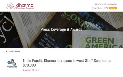 Screenshot of Press Page dharmamerchantservices.com - Press and Awards - Dharma Merchant Services - captured Jan. 7, 2016