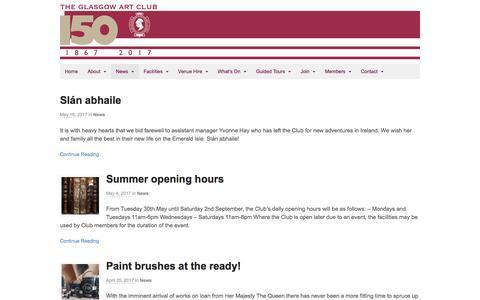 Screenshot of Press Page glasgowartclub.co.uk - News - Glasgow Art Club - captured May 17, 2017