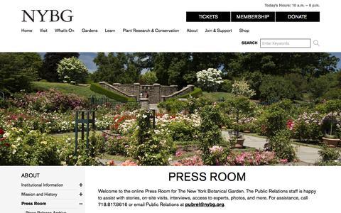 Screenshot of Press Page nybg.org - Press Room » New York Botanical Garden - captured June 27, 2017