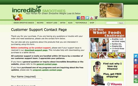 Screenshot of Support Page incrediblesmoothies.com - Customer Support Contact Page - Incredible Smoothies - captured Sept. 18, 2014