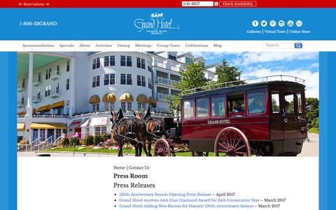 Screenshot of Press Page grandhotel.com - Press Room - America's True Grand Hotel - captured May 21, 2017