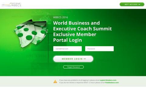 Screenshot of Login Page wbecs.com - Login - World Business Executive Coach Summit 2016 - captured Nov. 18, 2016