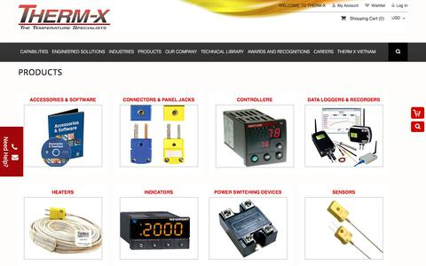Screenshot of Products Page therm-x.com - THERM-X - captured Sept. 21, 2018