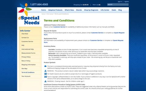 Screenshot of Terms Page especialneeds.com - Terms & Conditions | Info Center | e-Special Needs - captured Sept. 23, 2014