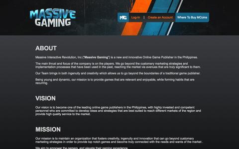 Screenshot of About Page massive.ph - Company | Massive Gaming Portal - captured Oct. 30, 2014